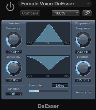 The De-Esser screen in Logic Pro X