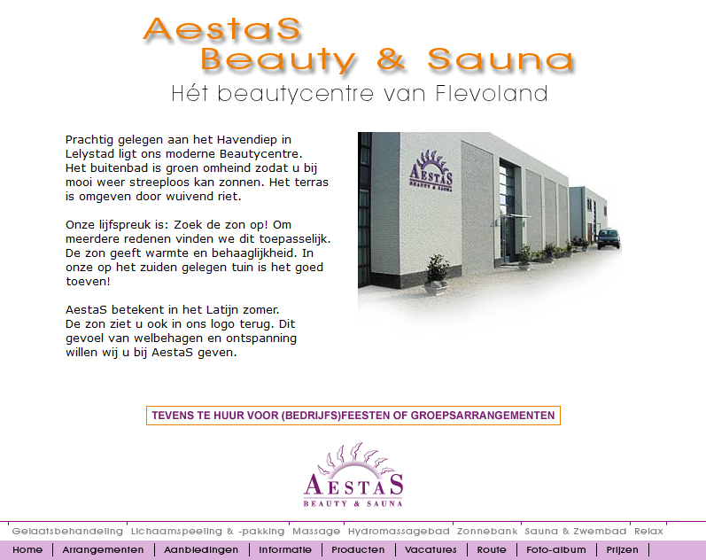 Aestas home page in 2008
