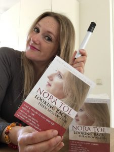 Nora with the flyers for the album