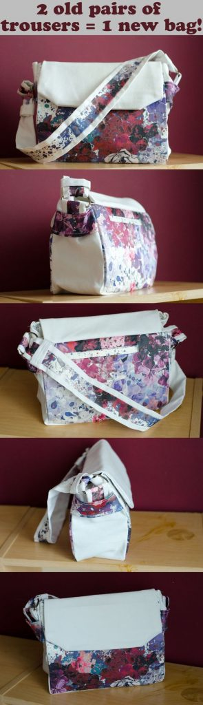 Floral flap handbag made from two old pants