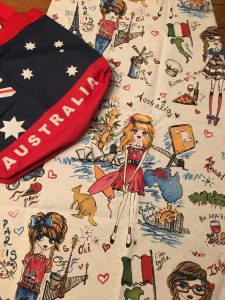 The Australian themed fabric that I've reused
